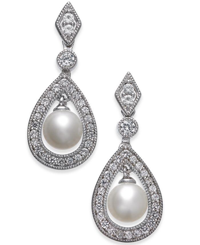 Macy's - Cultured Freshwater Pearl (6mm) & White Topaz (1 ct. t.w.) Drop Earrings in Sterling Silver