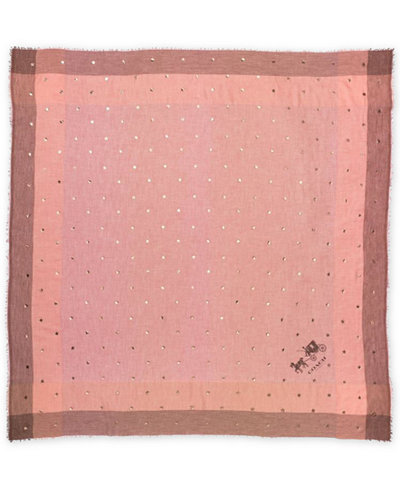 COACH Scattered Stars Foil-Print Windowpane Challis Scarf