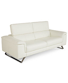 "Trivoly 90"" Leather Sofa with Articulating Headrest, Created for Macy's"