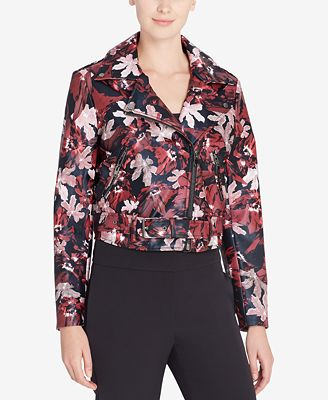 Catherine Catherine Malandrino Veruca Printed Faux-Leather Moto Jacket