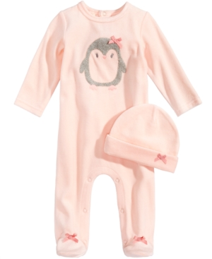 First Impressions 2Pc Velour Hat  Penguin Footed Coverall Set Baby Girls (024 months) Created for Macys