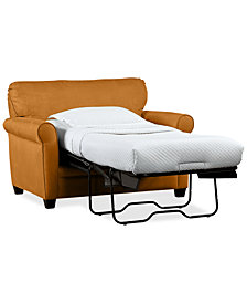 "Kaleigh 55"" Fabric Single Sleeper Chair Bed & Storage Ottoman Set - Custom Colors"