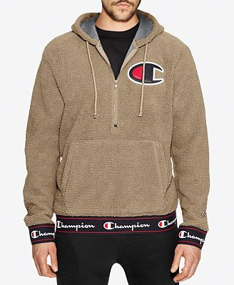 Champion Men's Half-Zip Sherpa Pullover Hoodie - Hoodies ...