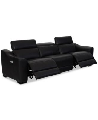 CLOSEOUT! Anniston 3-Pc. Leather Sectional with 2 Power Recliners and USB Power Outlet, Created For Macy's