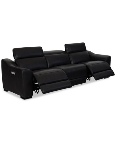 Anniston 3-Pc. Leather Sectional with 2 Power Recliners and USB Power Outlet, Created For Macy's