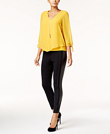 Thalia Sodi V-Hem Top & Faux-Leather-Trim Skinny Pants, Created for Macy's