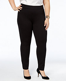 Anne Klein Plus Size Dot-Weave Skinny Pants