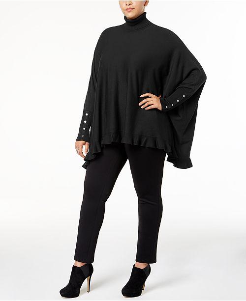 Alfani Plus Size Ruffled Cape Sweater, Created for Macy's