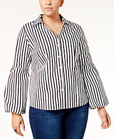 I.N.C. Plus Size Striped Bell-Sleeve Shirt, Created for Macy's