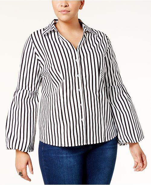 67aba86afda8c INC International Concepts I.N.C. Plus Size Striped Bell-Sleeve Shirt ...