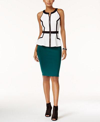 Thalia Sodi Zip-Front Peplum Top & Scuba Pencil Skirt, Created for Macy's