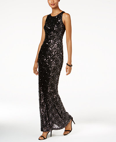 Betsy & Adam Beaded Mesh-Back Gown