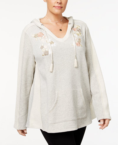 Style & Co Plus Size Embroidered V-Neck Hoodie, Created for Macy's
