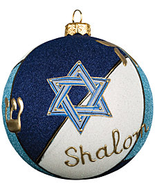 Joy To The World Judaica Glitterazzi Round Ball Ornament