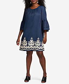 ECI Plus Size Cotton Double Bell-Sleeve Embroidered Dress