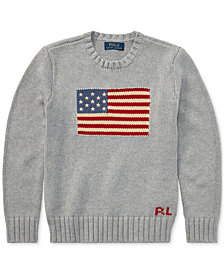 Polo Ralph Lauren Big Boys Flag Intarsia Cotton Sweater