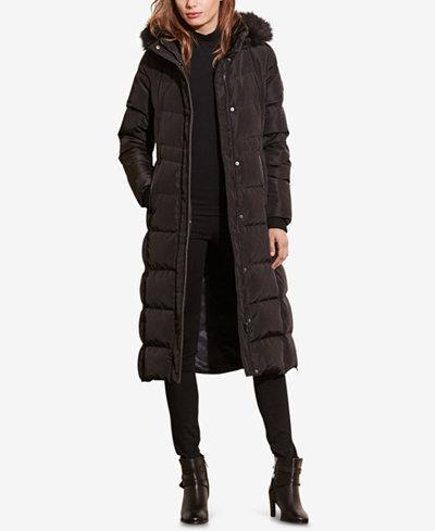 Lauren Ralph Lauren Faux-Fur Quilted Puffer Maxi Down Coat - Coats ... : quilted down coats - Adamdwight.com
