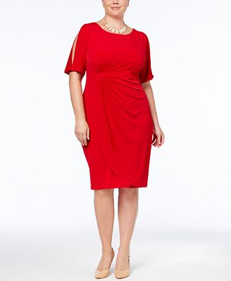 Connected Plus Size Cold-Shoulder Sheath Dress