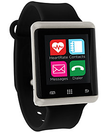iTouch Unisex Pulse Black Silicone Strap Smart Watch 45mm, Created for Macy's