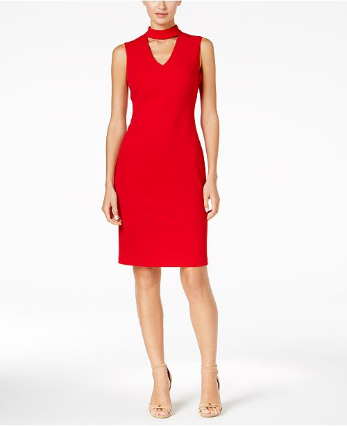 2cb3227882127 Calvin Klein Scuba Crepe Choker Sheath Dress   Reviews - Dresses ...
