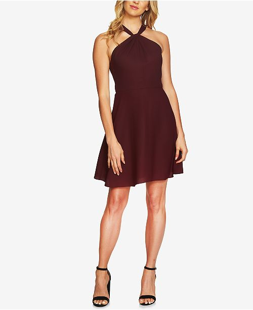 CeCe Lace-Back Halter Fit & Flare Dress