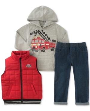 Kids Headquarters 3Pc Hooded Shirt Vest  Jeans Set Toddler Boys (2T5T)
