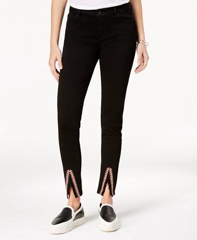 Celebrity Pink Juniors' Embroidered Slit-Hem Skinny Jeans