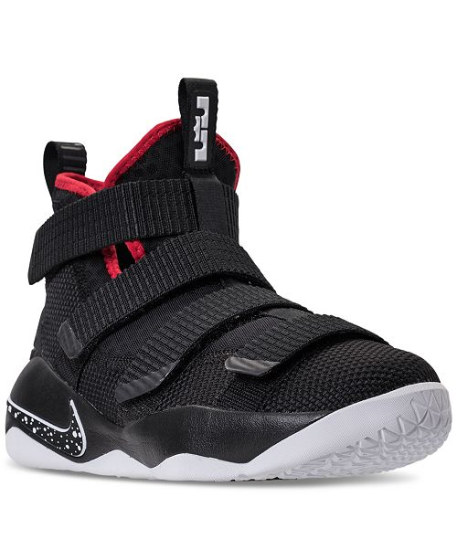pretty nice 5f994 93be6 ... Nike Big Boys  LeBron Soldier 11 Basketball Sneakers from Finish ...