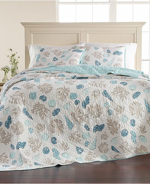 Martha Stewart Collection CLOSEOUT! Beach Finds Reversible  100% Cotton Quilt and Sham Collection, Created for Macy's