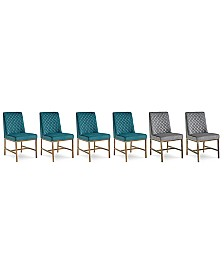 Cambridge Dining Chair 6-Pc. Set (Teal & Grey Side Chairs)