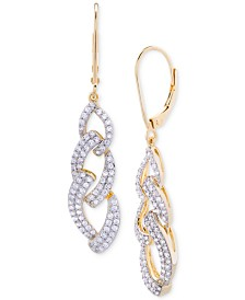 Wrapped in Love™ Diamond Link Drop Earrings (1 ct. t.w.) in 14k Gold over Sterling Silver, Created for Macy's