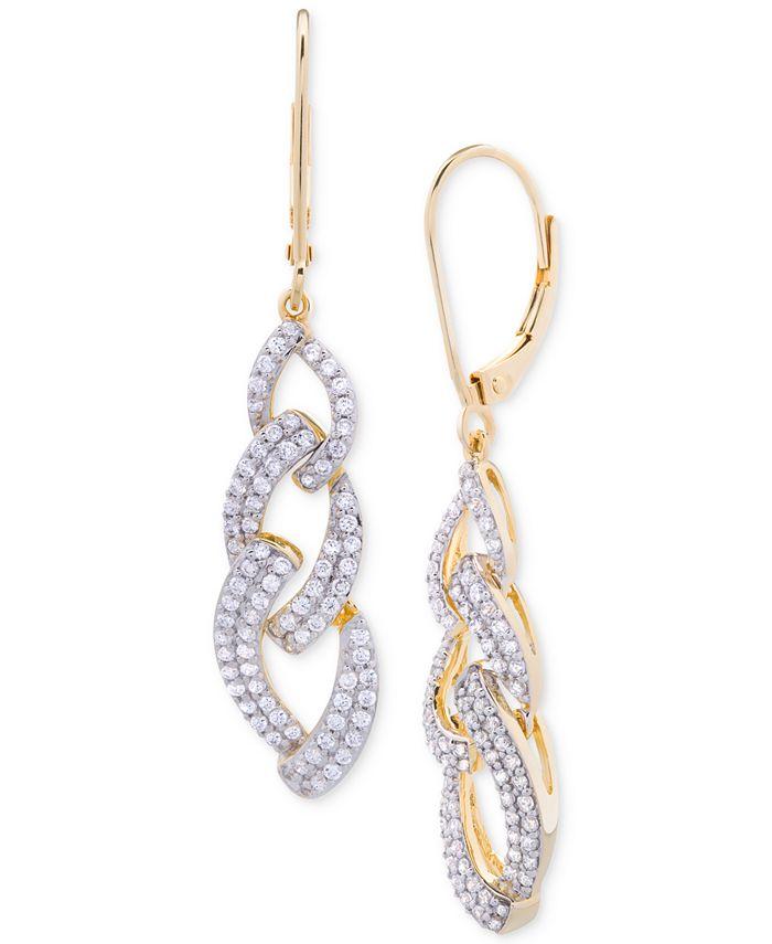 Wrapped in Love - Diamond Link Drop Earrings (1 ct. t.w.) in 14k Gold over Sterling Silver