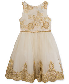 Rare Editions Sister Ivory & Gold Embroidered Dress, Baby (0-24 Months), Toddler (2T-5T), Little (4-6X), & Big Girls (7-16)