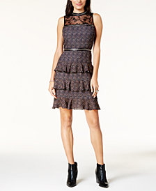 Glam by Glamorous Lace-Yoke Tiered Dress, Created for Macy's