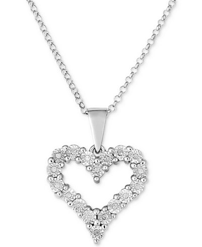 Diamond Heart Miracle Plate Pendant Necklace (1/10 ct. t.w.) in Sterling Silver