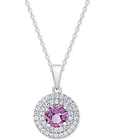 Amethyst (1-1/3 ct. t.w.) & White Topaz (3/8 ct. t.w.) Pendant Necklace in Sterling Silver