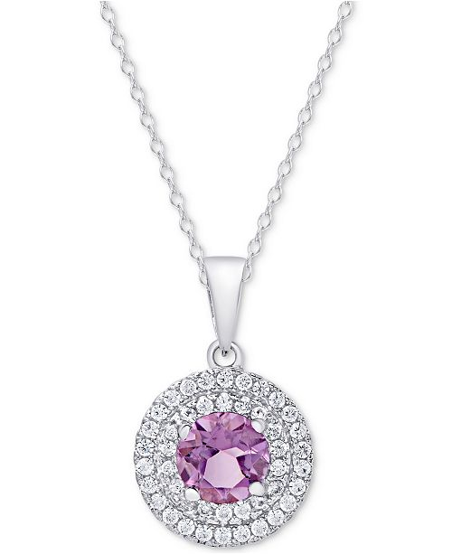 Macy's Amethyst (1-1/3 ct. t.w.) & White Topaz (3/8 ct. t.w.) Pendant Necklace in Sterling Silver