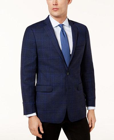 Calvin Klein Men's Slim-Fit Blue Windowpane Sport Coat