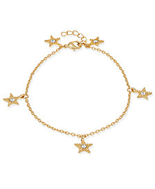 I.N.C. Gold-Tone Pavé Star Charm Ankle Bracelet, Created for Macy's