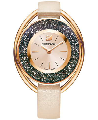 Swarovski Women's Swiss Crystalline Oval Rose Leather Strap Watch 37mm