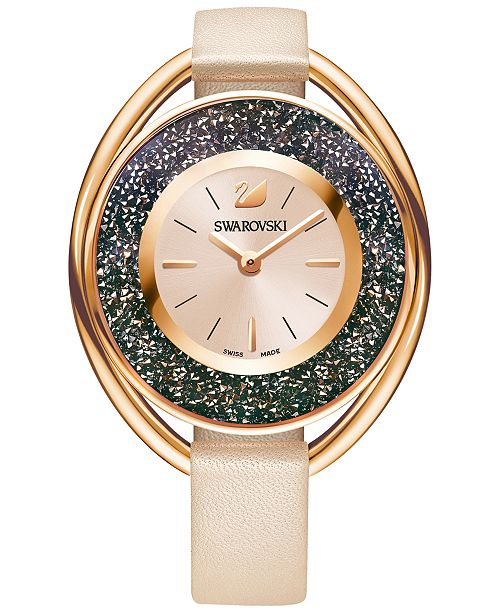 Swarovski Women's Swiss Crystalline Oval Rose Leather Strap Watch 37mm