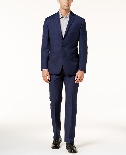 Ryan Seacrest Distinction Modern-Fit Navy Birdseye Suit Separates, Created for Macy's