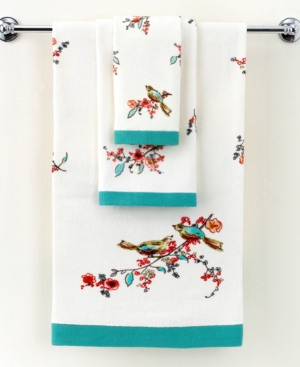 "Lenox Simply Fine Bath Towels, Chirp Printed 27"" x 50"" Bath Towel Bedding"