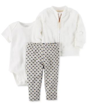 Carters 3Pc FauxFur Jacket Bodysuit  Leggings Set Baby Girls (024 months)