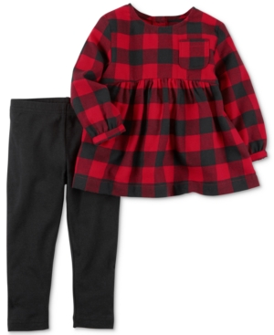Carters 2Pc Buffalo Check Flannel Tunic  Leggings Set Baby Girls (024 months)