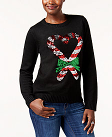 Karen Scott Petite Candy Cane Holiday Sweater, Created for Macy's