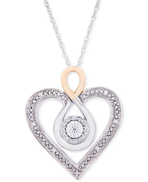 """Macy's Diamond Two-Tone Heart 18"""" Necklace (1/10 ct. t.w.) in Sterling Silver and 10k Gold"""
