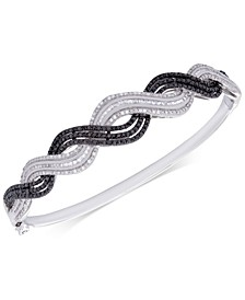 Diamond Wavy Bangle (1 ct. t.w.) in Sterling Silver, Created for Macy's