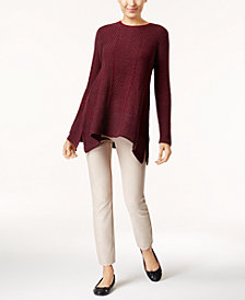 Jeanne Pierre Handkerchief-Hem Sweater & ECI Pull-On Straight-Leg Pants