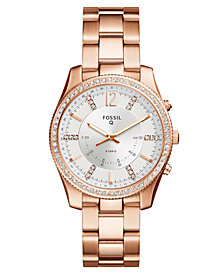 Fossil Q Women's Scarlette Rose Gold-Tone Stainless Steel Bracelet Hybrid Smart Watch 38mm